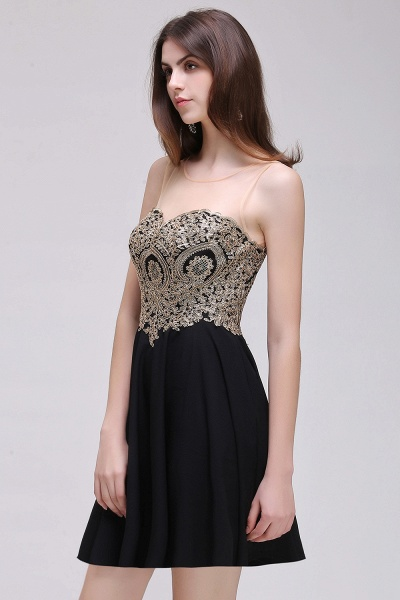CAITLIN | A-line Short Chiffon Black Homecoming Dresses with Appliques_8