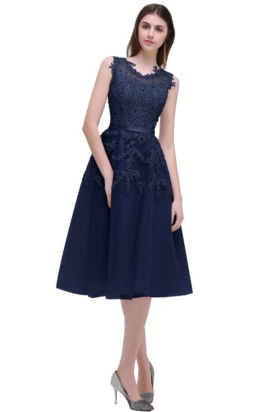 EMORY | A-Line Crew Tea Length Lace Appliques Short Prom Dresses_4