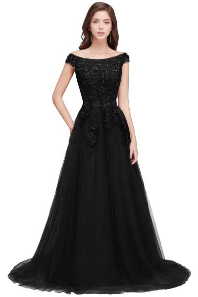 Sleek Off-the-shoulder Tulle A-line Evening Dress_4