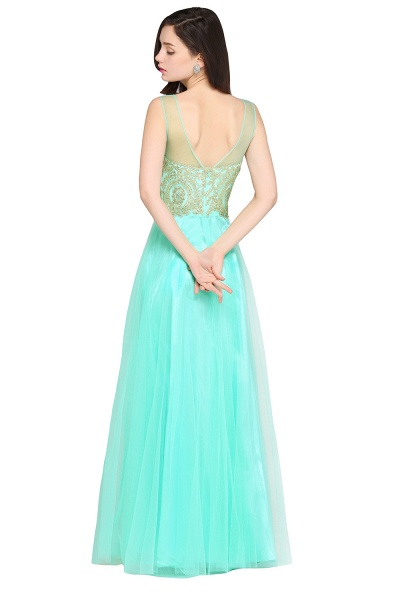 ARIA | A-line Scoop Tulle Gorgeous Evening Dresses with Appliques_9