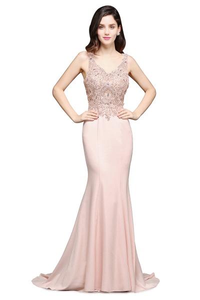 Modest V-neck Stretch Satin Mermaid Evening Dress_1