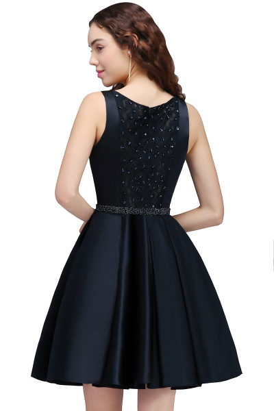 BRIANNA | A-Line Round Neck Short Dark Navy Homecoming Dresses With Crystal_3