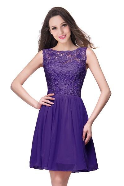 ELIANA | A-line Short Sleeveless Bateau Chiffon Ruffles Lace Top Prom Dresses_3
