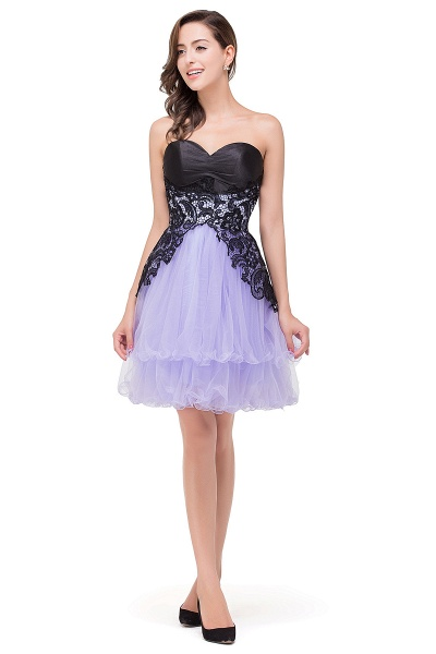 EVALYN | A-line Sweetheart Short Prom Dresses with Bowknot-Sash_5
