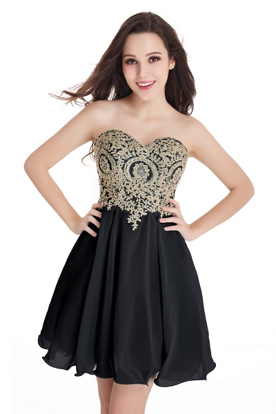 A-Line Strapless Short Chiffon Prom Dresses with Beadings_7
