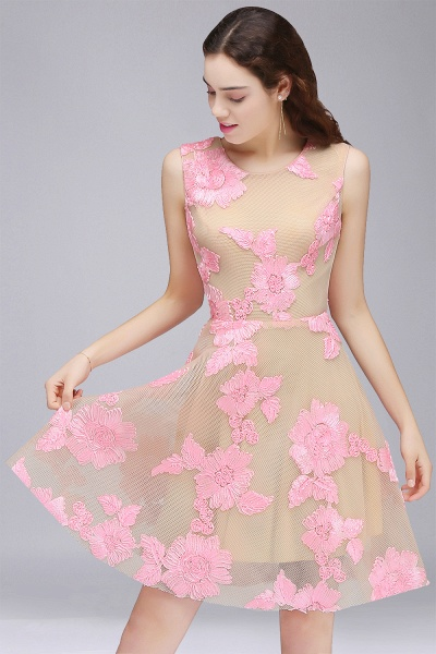 CORDELIA | Princess Knee-length Tulle Homecoming Dress with Pink Lace Appliques_1