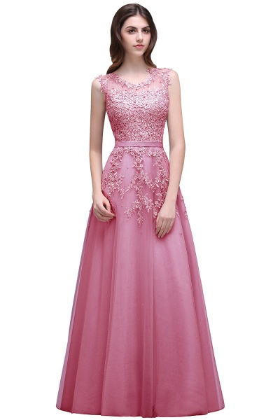 Beautiful V-neck Tulle A-line Evening Dress_1