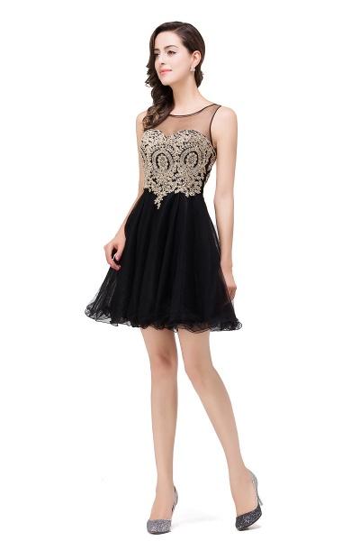 A-line Crew Short Sleeveless Appliques Prom Dress_11