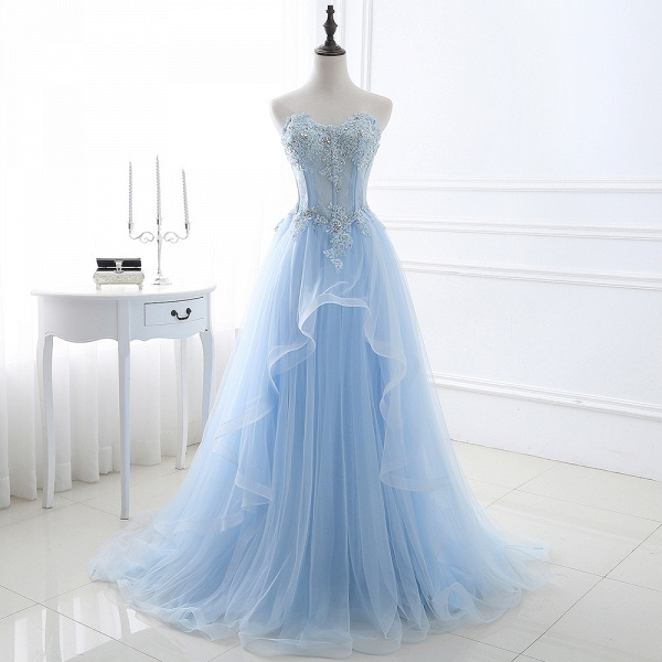 Graceful Strapless Organza Ball Gown Evening Dress_3