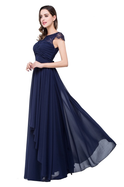 ELLEN   A-line Short Sleeves Chiffon Bridesmaid Dresses with Ribbon Bow_9