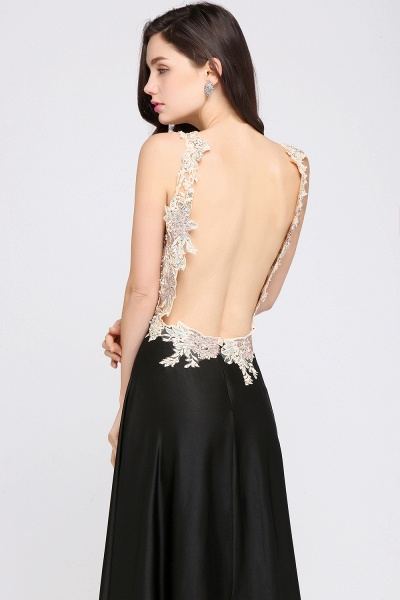 ARIELLE | A-line Floor Length Black Chiffon Evening Dresses with Appliques_6