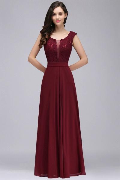 Scoop Cap Sleeves Satin Chiffon A-line Floor Length Bridesmaid Dress_10