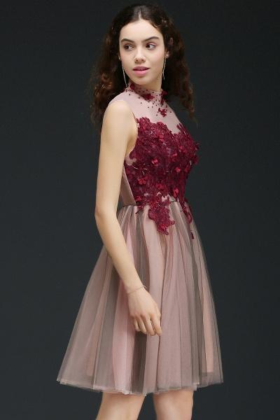 Exquisite High Neck Satin A-line Homecoming Dress_5