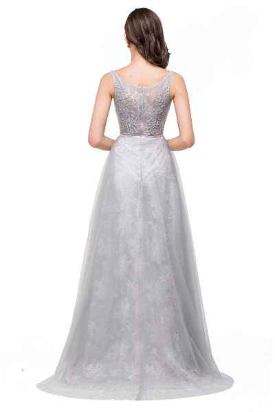 FRANKIE | A-Line Sleeveless Illusion Floor-Length Tulle Prom Dresses with Embroidered Flowers_3