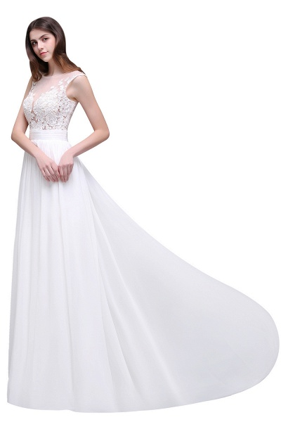 Chiffon Lace Appliques Sleeveless Boho Wedding Dress_8
