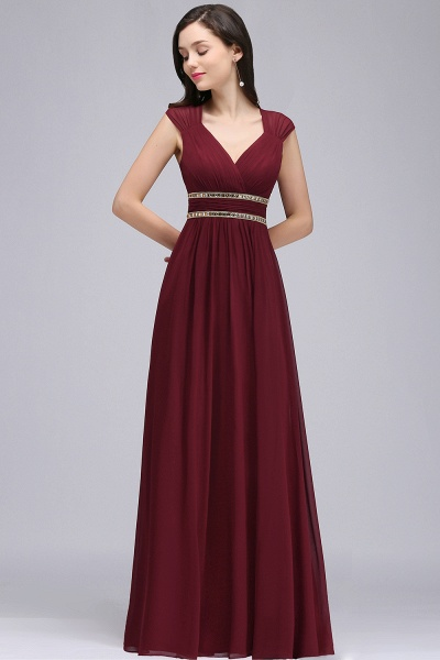 V-neck Cap Sleeves Chiffon Column Floor Length Bridesmaid Dress_9