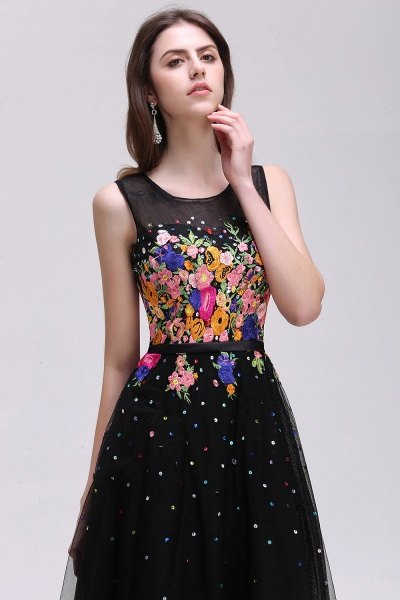 CAMERON | A-line Jewel Neck Tulle Black Prom Dresses with Embroidery Flowers_5