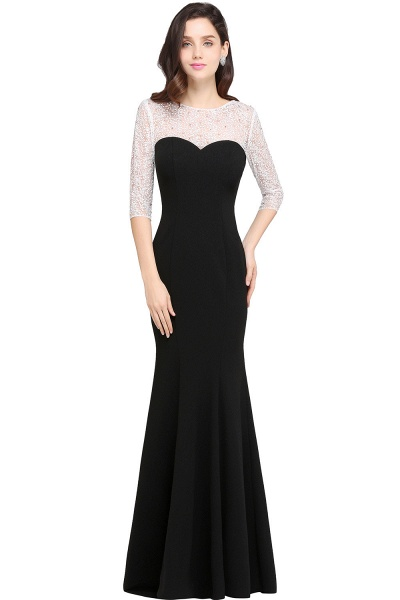ARIEL | Mermaid Floor Length Black Cheap Evening Dresses with Lace_1