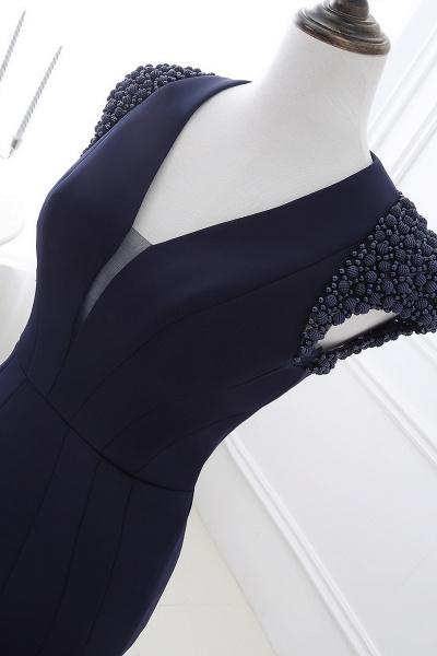 CAMILLA | Mermaid V-Neck Dark Navy Prom Dresses with Beading_8