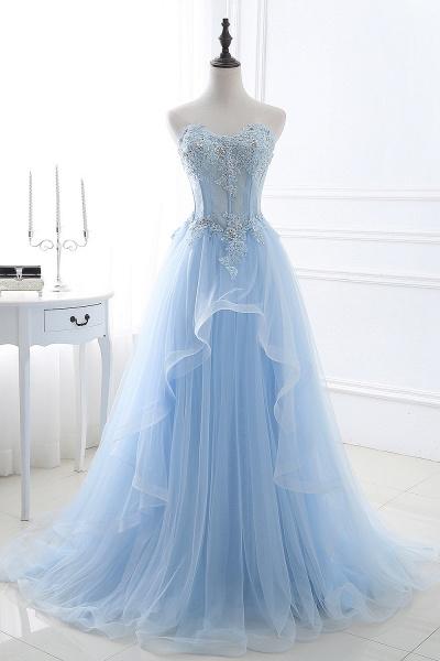 Graceful Strapless Organza Ball Gown Evening Dress_5