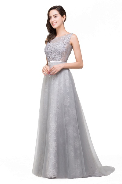 FRANKIE | A-Line Sleeveless Illusion Floor-Length Tulle Prom Dresses with Embroidered Flowers_5