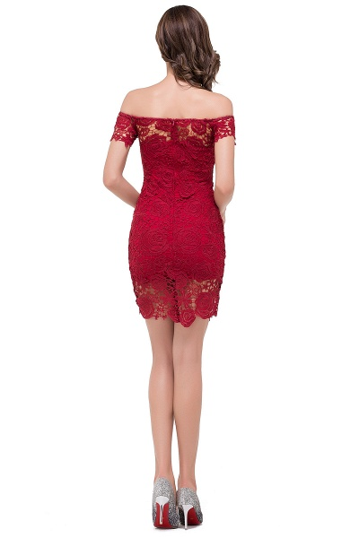 FERNANDA | Mermaid Off Shoulder Short Burgundy Lace Prom Dresses_3