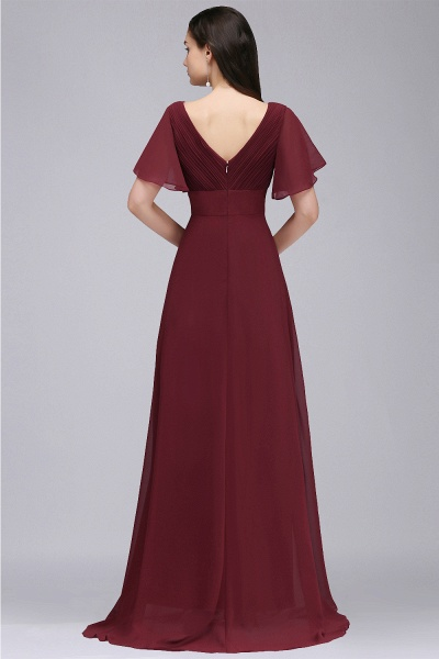 A-line V-neck Floor Length Chiffon Bridesmaid Dress_8