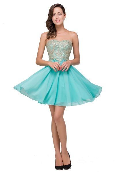 Appliques Elegant Short Sleeveless Chiffon Prom Dresses_1