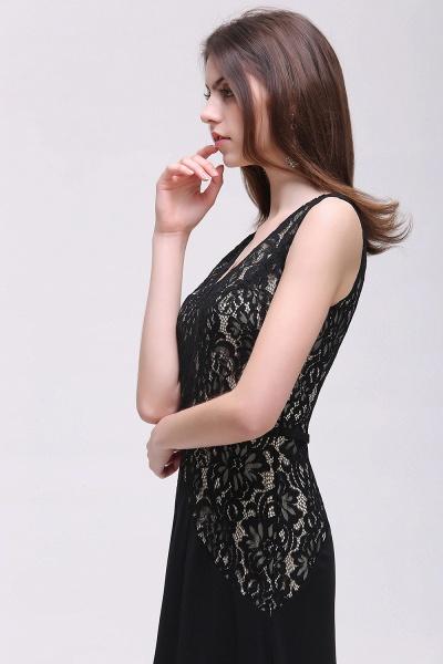 BRYANNA   A-line V-Neck Long Lace Black Prom Dresses with Sash_5