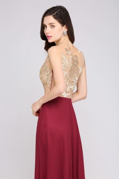APRIL | A-line Scoop Chiffon Burgundy Pretty Evening Dresses_6