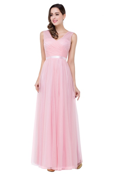 ELLIOT | A-line Sleeveless V-neck Floor-length Tulle Bridesmaid Dresses_6