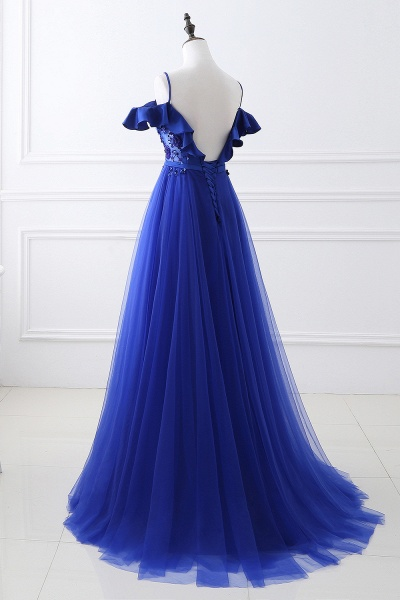 CHANEL   Ball Gown Off-the-shoulder Floor-length Blue Tulle Prom Dress_6