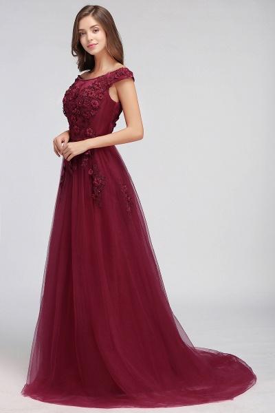 Sleek Off-the-shoulder Tulle A-line Evening Dress_12