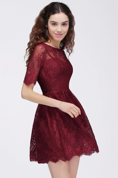 Burgundy A-Line Round Neck Lace Short Homecoming Dresses_6