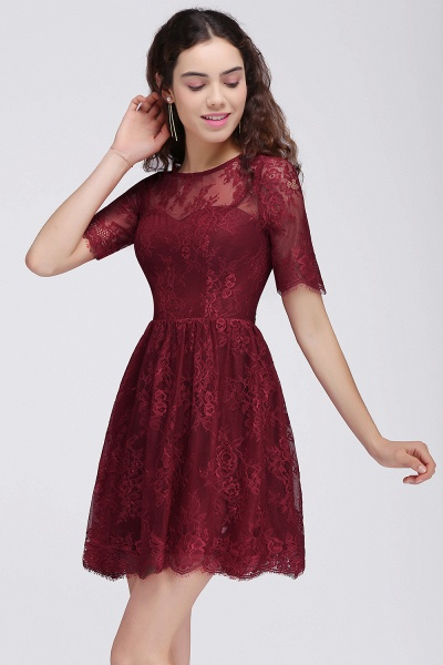 Burgundy A-Line Round Neck Lace Short Homecoming Dresses_5