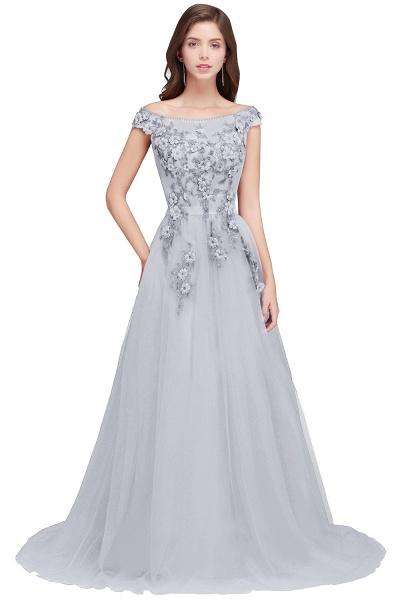 Sleek Off-the-shoulder Tulle A-line Evening Dress_5