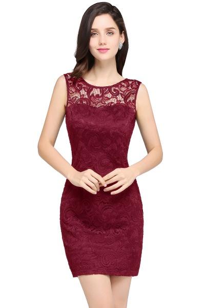 Elegant Scoop Lace Column Bridesmaid Dress_1