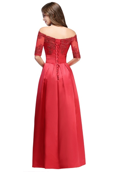 Elegant Off-the-shoulder Satin A-line Evening Dress_5