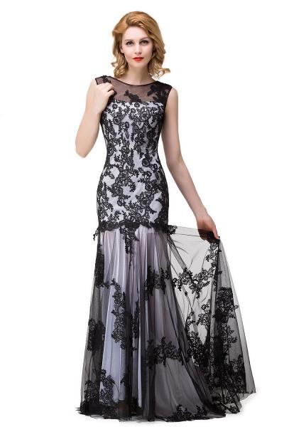 DANIELA | Scoop Neck Mermaid Black lace Applique Evening Prom dresses_8