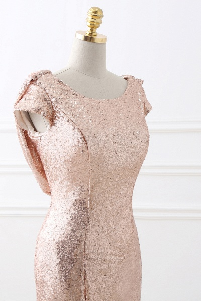 COURTNEY | Fit and Flare Sweep train Sequined Rosy Golden Prom Dress_7