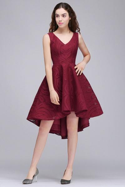 ALEJANDRA | A Line V Neck Burgundy Lace Cocktail Homecoming Dresses_1