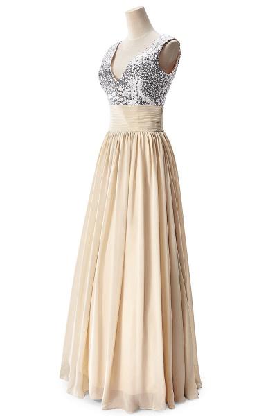 Fascinating V-neck Chiffon A-line Evening Dress_9