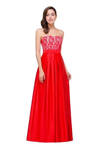 EVERLY | A-line Sleeveless Sweetheart Floor-Length Red Chiffon Prom Dresses_6