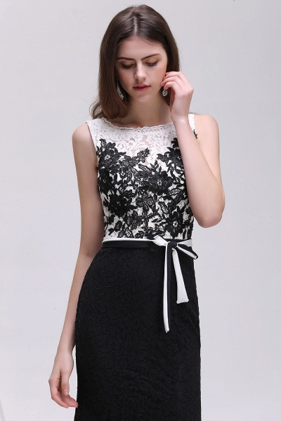BRYNN | Mermaid Scoop Neckline Lace Black and White Elegant Prom Dresses with Bowknot Sash_5