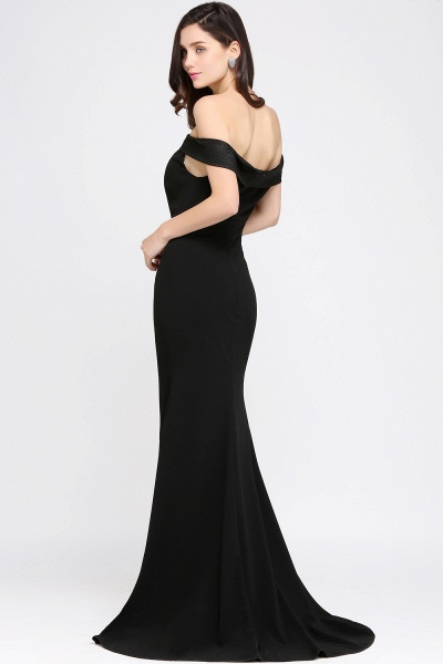 ARIYA | Mermaid Sweep Train Off The Shoulder Black Evening Dresses_4