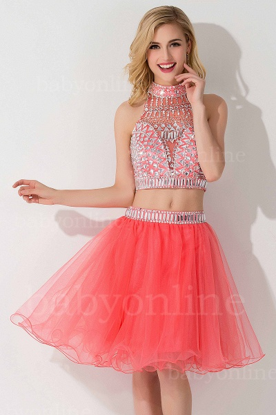 ELISE | Two-piece Halter Sleeveless Short Tulle Prom Dresses with Crystal Beads_17