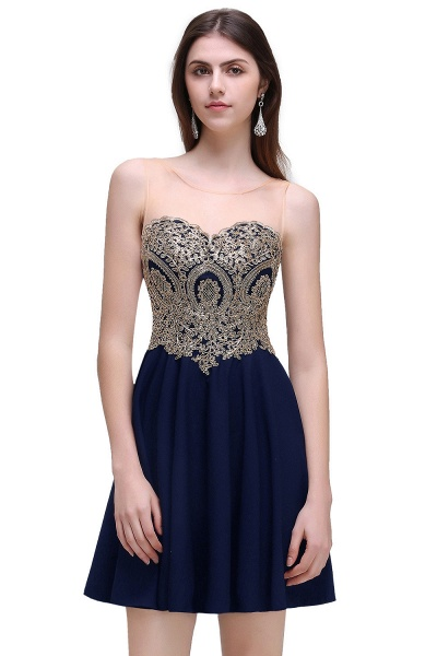 CAITLIN | A-line Short Chiffon Black Homecoming Dresses with Appliques_1