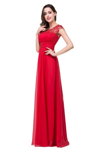 EMMELINE | A-Line Cap Sleeves Floor-Length Chiffon Prom Dresses_7