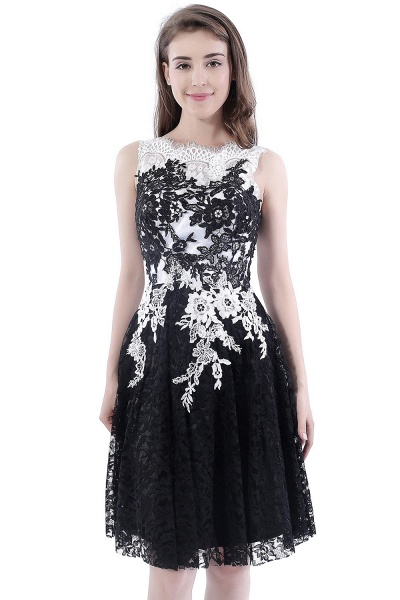 DAHLIA | Short Sheath Sleeveless Black Lace Prom Dresses_8