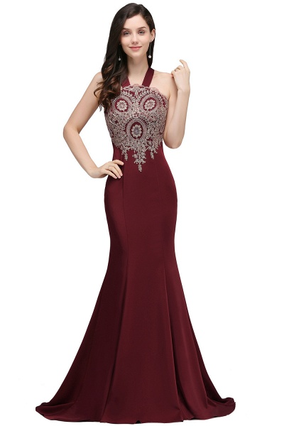 EILEEN | Mermaid Scalloped Floor-length Appliques Burgundy Prom Dresses with Beadings_1